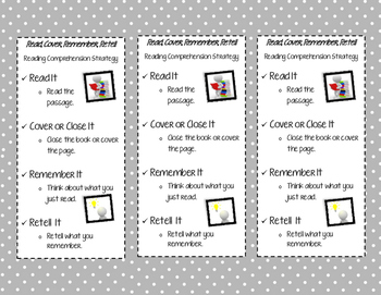 Read, Cover, Remember, Retell Bookmarks (Gray)