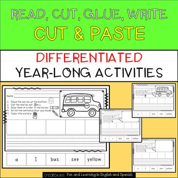 "Read, Cut, Glue, Write ""Year-Long"" Center - Differentiated - NO PREP"