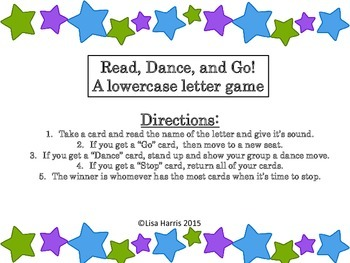 Read, Dance, Go!  A Lower case letter game