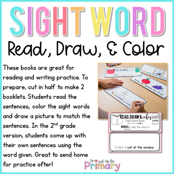 Dolch Sight Words Read, Draw, & Color
