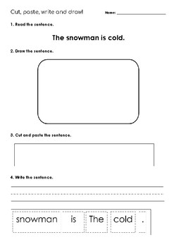 """Read, Draw, Paste and Write - """"The Snowman is Cold."""""""