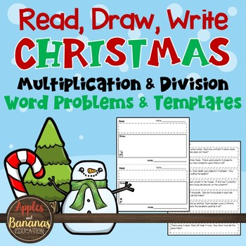 Read, Draw, Write Christmas Multiplication and Division Word Problems Freebie