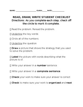 Read, Draw, Write Student Checklist to help students solve word problems