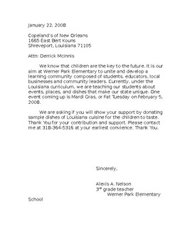 Read-Fest Sample Donation Letter