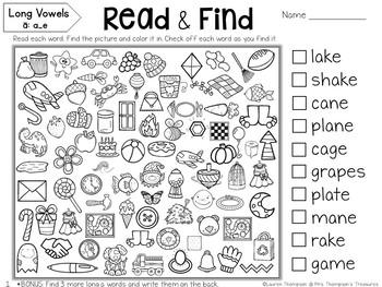 Read & Find Hidden Picture Puzzles: Long Vowels