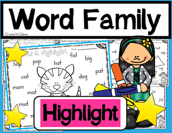 Read, Find, & Highlight! Word Family Literacy Printables for Beginning Readers