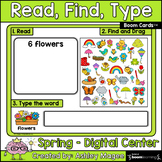 Read, Find, Type Spring Center - Boom Cards - Digital Dist