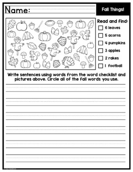 Read, Find, Write Fall - A Writing Center Activity