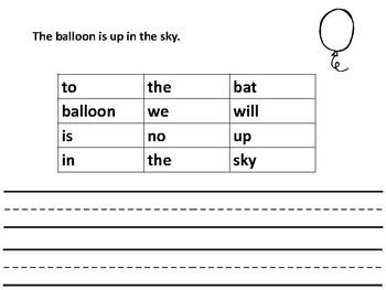 Read, Find and Write Kindergarten Sentences