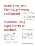 Sight words: read, find, write, and draw