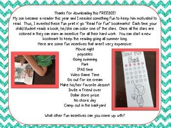 Read For Fun Bookmarks FREEBIE