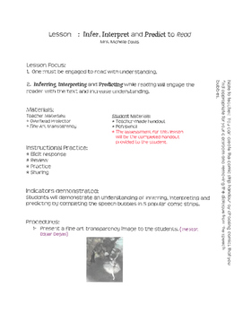 Read, Infer and Predict Lesson Plan