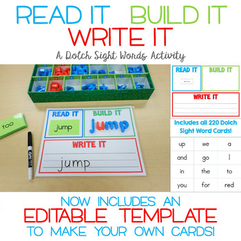 Read It, Build It, Write It - A Dolch Sight Words Center and EDITABLE TEMPLATE