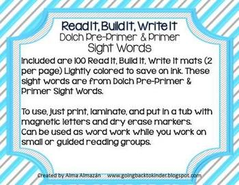 Dolch Sight Words Read It, Build It, Write It