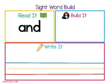 Read It, Build It, Write It, (Dolch Sight Word Mats Pre-primer-2nd Grade)