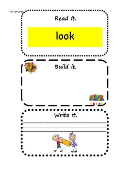 Read It, Build It, Write It Dolch Word Literacy Center