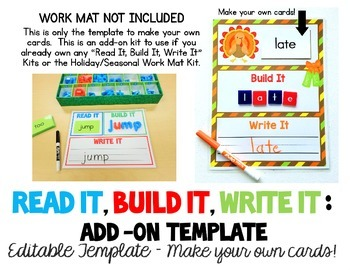 Read It, Build It, Write It EDITABLE TEMPLATE - Make your own cards!