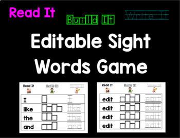 Read It, Build It, Write It Editable Sight Word Game