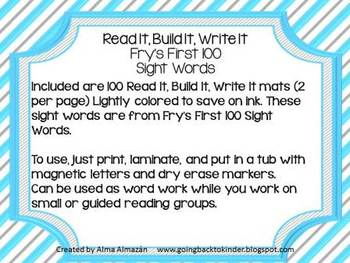 Read It Build It Write It Fry's First 100 Sight Words