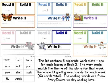 Read It, Build It, Write It Harcourt StoryTown Spelling Words for Book 3
