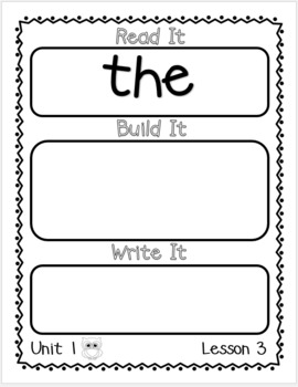 Read It, Build It, Write It: Kindergarten Journeys High Frequency Words
