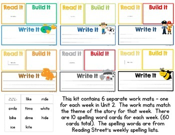 Read It, Build It, Write It Reading Street Common Core Spelling Words for Unit 2