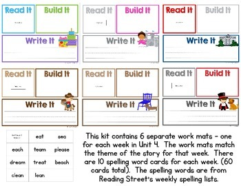 Read It, Build It, Write It Reading Street Common Core Spelling Words for Unit 4
