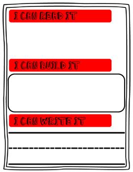 Read It / Build it / Write it Literacy Activity