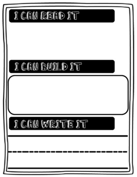 Read It / Build it / Write it Literacy Activity (Black and White)