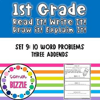 Read It! Draw It! Solve It! Explain It! - 10 Three Addend Word Problems - Set 9