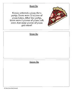 Read It, Draw It, Solve It- Subtraction Story Problem Packet