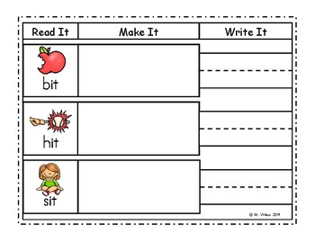 Word Work Center Read Make Write Short Vowels and Blends