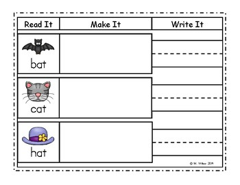 Short Vowels and Blends Work Mats Word Building