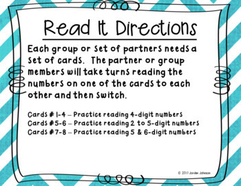 Read It - Place Value Practice Reading Numbers
