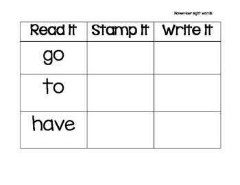 Read It, Stamp It, Write It November Sight Words