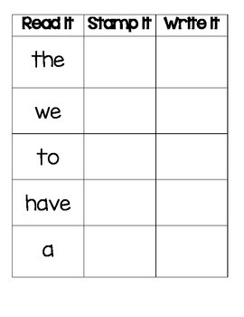 Read It, Stamp It, Write It September - November Sight Words