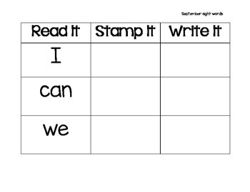 Read It, Stamp It, Write It September Sight Words