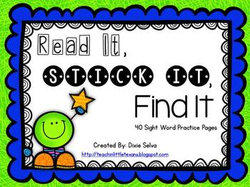 Read It, Stick It, Find It {Pre-primer Sight Word Practice Pages}