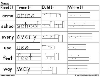 Read It, Trace It, Build It, Write It-Harcourt First Grade Sight Words Theme 3