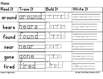 Read It, Trace It, Build It, Write It-Harcourt First Grade Sight Words Theme 5