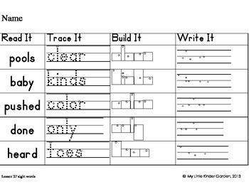 Read It, Trace It, Build It, Write It-Harcourt First Grade Sight Words Theme 6