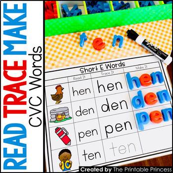 CVC Words Short Vowel Word Families: Read It, Trace It, Make It