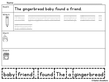 Read It, Trace It, Put the Sentence Together: Gingerbread Theme