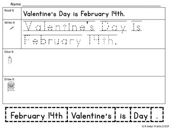 Read It, Trace It, Put the Sentence Together: Valentine's Day Theme