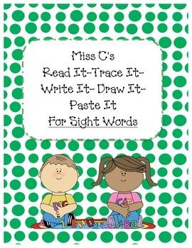 Read It Trace It Write It Draw It Paste It SIGHT WORDS