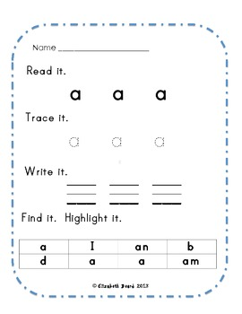 Read It, Trace It, Write It, Highlight It:  Kindergarten Sight Words