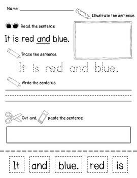 Read It, Trace It, Write It, Make It - Sight Word Sentence Practice