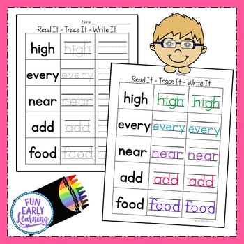Read It - Trace It - Write it - Fry's Third 100 Sight Words Activity