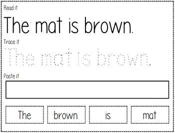 Read It, Trace It, and Paste It Fluency Strips Bundle