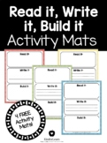 Read It, Write It, Build It Activity Mats FREE- Kindergarten literacy